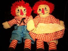 Homemade pair of Raggedy dolls