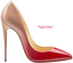 Pigalle Follies  120mm pump with a dégradé-effect in glossy red & nude patent leather.