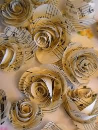 Sheet music paper roses - great for bridesmaids or a toss bouquet