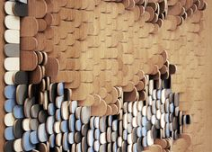 Beautiful timber pieces create interactive panelling or façade.