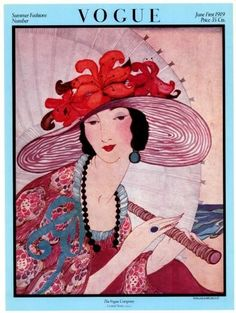 Poster of Vintage Vogue Magazine Cover- July 1, 1919 - Hot Weather Fashions - Helen Dryden illustration. Description from pinterest.com. I searched for this on bing.com/images
