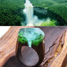 When the clouds parted my eyes opened a wonderful world - the majestic mountains covered with emerald green forests mountain streams with waterfalls numerous streams and lakes. Water falling at high speed down raising a cloud of mist which betrayed a mystical view of the landscape... #greenwood #greenwoodring #waterfall #ring #resinring #resin #magicring #secretring #WoodenBands #woodring