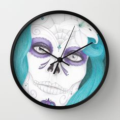 day of the dead clock. #dayofthedead #clock #skull #girl #art