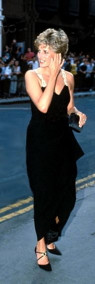 Elegant in this black and gold gown, Diana wore it several times including to a gala of the Kirov Ballet in London in July 1993.