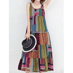 Gracila Women's Vintage Sleeveless Patchwork Hooded Maxi Dresses - Banggood Mobile