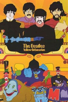 A great poster of The Beatles and other characters from the classic psychedelic cartoon movie Yellow Submarine! Check out the rest of our FABulous selection of Beatles posters! Need Poster Mounts. Beatles Poster, Les Beatles, Beatles Art, Beatles Photos, Cartoon Posters, Cartoon Movies, Movie Posters, Rock Posters, Band Posters