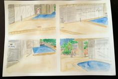 Watercolour studies of 4 viewpoints of site