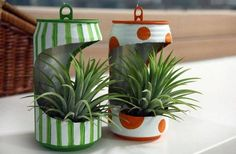 Recycling old tin can into mini flower planter.jpg