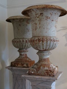 Wonderful pair of Large 19th Cent English Cast Iron Urns