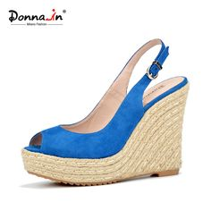 Donna-in summer open toe sandals blue sheepskin suede rope wedge ladies shoes