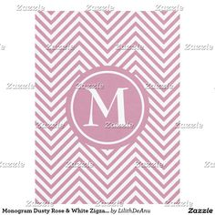 Monogram Dusty Rose & White Zigzag Fleece Blanket