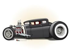 (2) The CARtoon Speed Shop Rat Fink, Chevrolet Bel Air, Dodge Charger, Rolls Royce, Cadillac, Ford Modelo T, Hot Rods, Crane, Hot Rod Tattoo