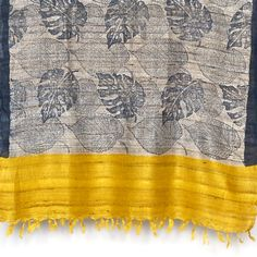 Tussar Yellow Leaf Scarf - Gifts for her - Christmas