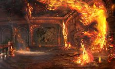 Landscape concept art of a burning building from Uncharted 3..............This sequence really blew my mind when I first saw it.  Absolutely incredible set design.