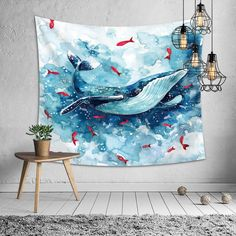 Beautiful Whale Printed Large Wall Tapestry Cheap Hippie Wall Hanging Natural Sea Wall Tapestries Cartoon Wall Art Home Decor Blue Tapestry, Tapestry Bedroom, Wall Tapestry, Blanket On Wall, Dorm Walls, Cartoon Wall, Whale Print, 2d Art, Backdrops
