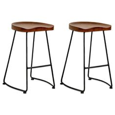 Sold as set of 2 bar stools, they are ideal counter stools for your home or business. Wooden seat with a rich walnut finish, and black twisted metal base. Sure to enhance any residential or professional décor. <br/>