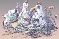 """Chicken Boom by Le Ngoc Hung - From $50. You will get an 8"""" x 10"""" size art print on museum quality archival paper. More options available at www.projectartshack.com #bird #digital #art #surreal"""