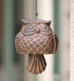 Ceramic Wind Chime Garden Bell with Vines Pattern, Patina Copper ...