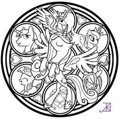 Cadance Stained Glass Tattoo Design Line Art