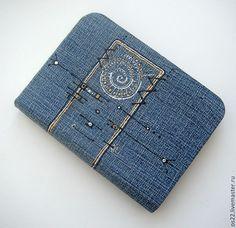 """Купить Джинсовый блокнот """"Аммонит"""" - голубой, деним, джинсовый стиль, джинса, джинсовый"""