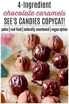 Did you grow up with See's Candies? I did! These 4-Ingredient Paleo Chocolate Caramels are my See's Candies Copycat! They're naturally sweetened, made with real food ingredients and are absolutely delectable. | Recipes to Nourish | Chocolate caramels recipe | See's Candies Copycat recipe | Paleo Chocolate Caramels | Paleo sweets | Paleo treats | Naturally sweetened chocolates | Real food sweets || #norefinedsugar #paleorecipes #realfood