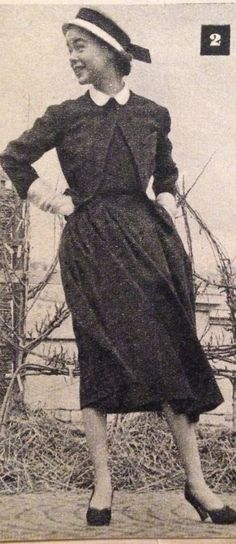 Madeleine de Rauch- 1952 Schoolgirl ensemble- black jersey blouse with a white collar under a black Scottish wool skirt and jacket.  Elle- Les Collections Printemps 1952- No.327- March 3, 1952.