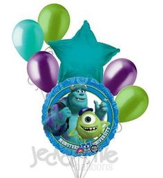 """Included in this bouquet: 7 Balloons Total 1 – 18"""" """"Monsters University"""" Round Balloon 1 – 18"""" Turquoise Star Balloon 5 - 12"""" Mixed Latex Balloons (2 Lime Green, 1 Aqua, 2 Metallic Purple) These items"""