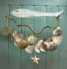Fish Driftwood Windchime Mobile Capiz Seashell by CastawaysHall, $49.00