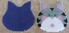 Handmade Plastic Canvas Cat with cut out measures about 4 1/2 4 3 1/2 Can be made into Coaster Ornament, Magnet, or package decoration. Perfect for