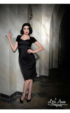 Laura Byrnes Black Label Pris Dress in Black | Pinup Girl Clothing