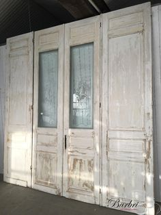 Antieke set deuren met glas - Oude bouwmaterialen - Burbri