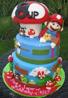 Top Ten best Super Mario cakes and cupcakes ever! Everything from Mario Kart to traditional Mario. Video game wedding cakes to birthday cakes. Mario Birthday Cake, Super Mario Birthday, Super Mario Party, Birthday Cakes, 5th Birthday, Happy Birthday, Cupcakes Super Mario, Bolo Super Mario, Fancy Cakes