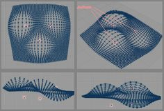 I've already done one attractor point that distorts the rectangular grid vertically. I need to place two more attractor points. Grasshopper Images, Grasshopper Rhino, Parametric Architecture, Parametric Design, Architecture Diagrams, Architecture Student, Architecture Portfolio, 3d Pattern, Pattern Design