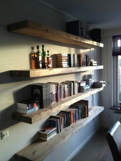 Creative Homemade Bookshelves with the Unique Decoration: Fantastic Homemade Bookshelves Wooden Board Attached To The Wall ~ flohomedesign.com Furniture Inspiration