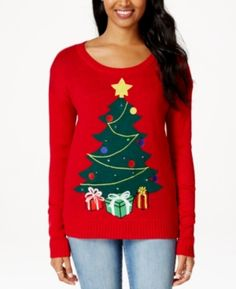 It's Our Time Christmas Tree Light-Up Red Jumper #noveltyxmasjumpersuk