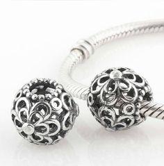 eaf4d59d527 925 Sterling Silver Flower Pandora beads Screwed Core on sale