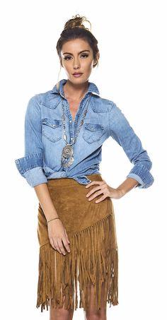 American Woman Denim Button Up Skirt Outfits, Fall Outfits, Cute Outfits, Boho Outfits, Boho Look, Look Chic, Estilo Hippie, Hippie Chic, Looks Camisa Jeans