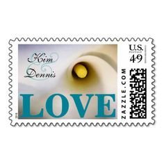 Personalized Names Calla Lily Love Postage Stamps - Teal / Turquoise / Aqua (you can change ampersand and text color) - Add Your Own Text, Names, Date, etc. Perfect for Wedding, Bridal Shower, Anniversary, Vow Renewal, Birthday Party, etc. calla lily calla lilies lilly arum zantedeschia aethiopica