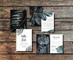 DARK TROPIC SUITE - Tropical wedding invitation set - Printable wedding invitation - Modern - Tropical Leaf - Tropical Leaf - Green - Black - Greenery - 2018 Wedding Invitation Trends -