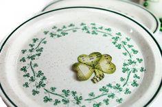 Shamrock Salad Plate Emerald Isle Pattern by northandsouthshabby