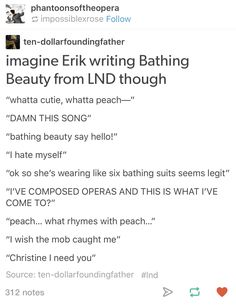 I WAS JUST WONDERING THE OTHER DAY WHAT IN THE WORLD WAS GOING THROUGH ERIK'S HEAD WHEN HE WROTE BATHING BEAUTY AND BOOM HERE IT IS