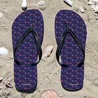 Triathlon Triathlete Pattern on Blue Flip Flops - Kick back after a triathlon with these great flip flops! Fun and functional flip flops for all triathletes.