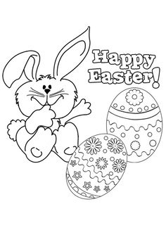 Free Online Happy Easter 2 Colouring Page - Kids Activity Sheets: Easter Colouring Pages