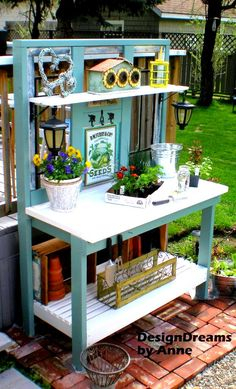 Build your own potting bench with a mix of new and old - by Design Dreams by Anne, featured on I Love That Junk