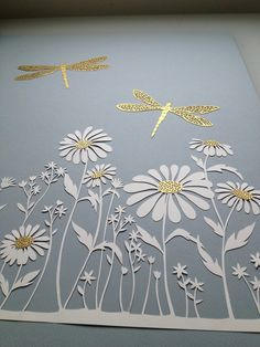 Detail of a papercut commission with daisies and gold dragonflies Kirigami, 3d Paper, Origami Paper, Paper Crafts, Paper Cutting Patterns, Quilled Roses, Cut Out Art, Quilling Patterns, Paper Folding
