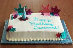 Frozen Birthday Cake. The hard candy snowflakes are beautiful with light shining through them!