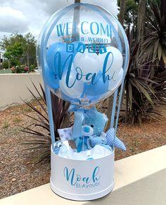 Balloon Arrangements, Balloon Centerpieces, Balloon Decorations, Happy Balloons, Helium Balloons, Balloon Gift, Hot Air Balloon, Newborn Baby Gifts, Baby Boy Gifts