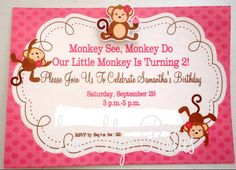 Girl Monkey Birthday Party Invitation Birthday by SamSkyeParties, $10.00