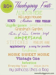 thanksgiving fonts and fall fonts for any type of thanksgiving craft project.