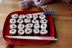 mock sushi to be used with FIAR A Pair of Red Clogs or Grandfather's Journey
